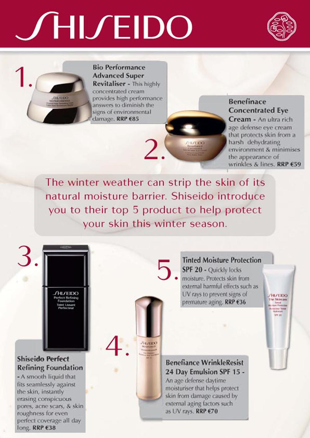 Shiseido's Top 5 products for the Winter Season
