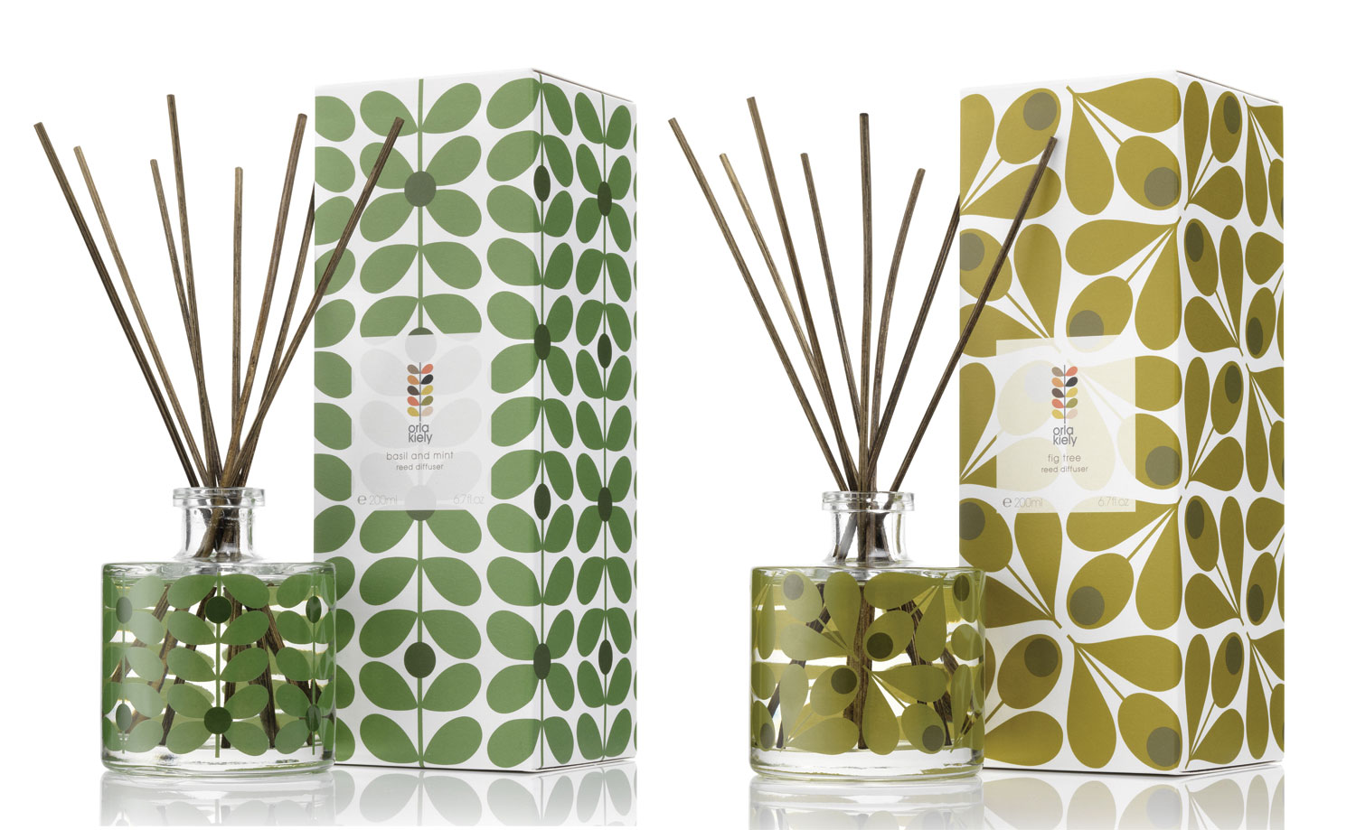 Orla Kiely Fig Tree and Basil & Mint Diffusers