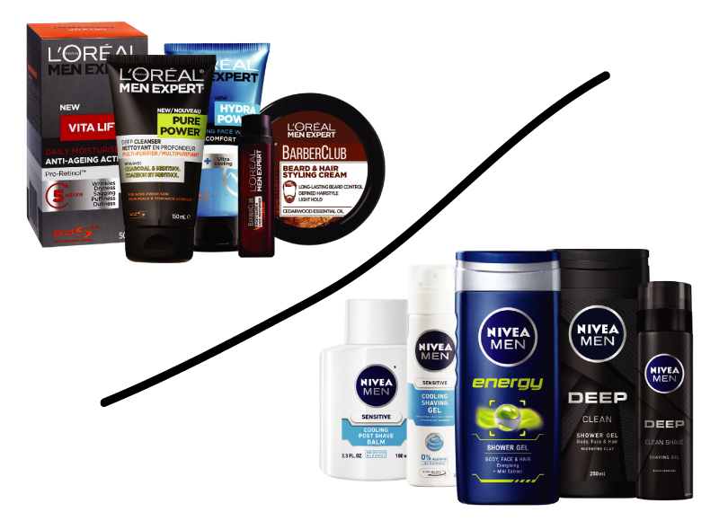 L'Oreal Men Expert and Nivea for Men Toiletries